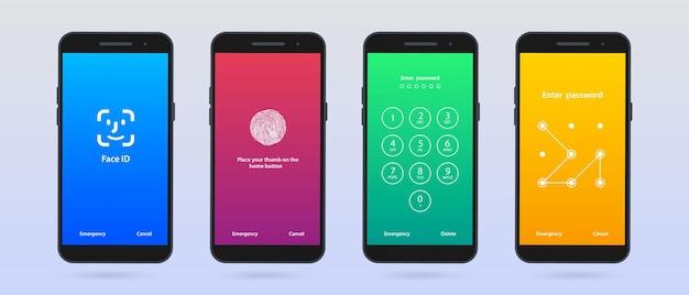 Блокировка экрана. набор из четырех экранов мобильного телефона loch интерфейс пароля для экрана блокировки или ввода страниц с паролями.