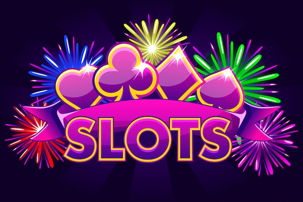 Screen logo slots, banner on violet background with icons, ribbon and fireworks, background game screensaver. illustration