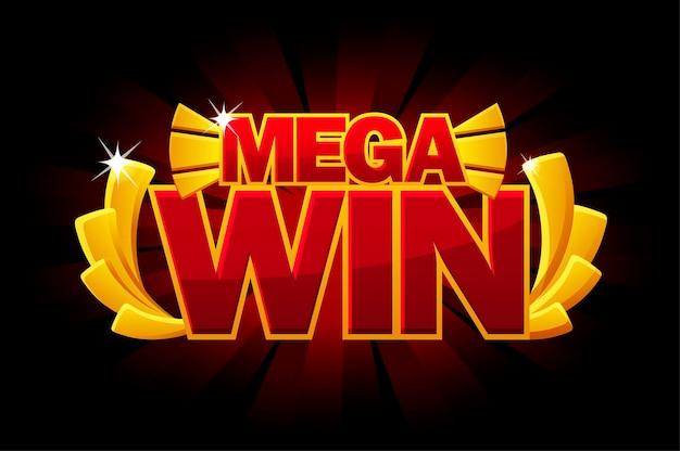 Золотая награда screen mega win, светящееся красное знамя для пользовательского интерфейса игры