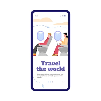 비행기 승객 용 앱이있는 휴대 전화 화면