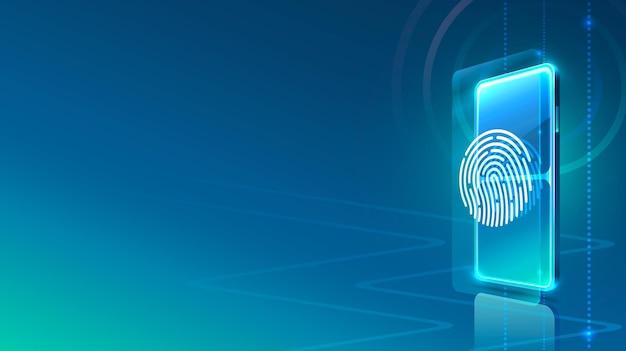 스크린 전화 네온 아이콘 스캐너 현대. 파란색 배경입니다.