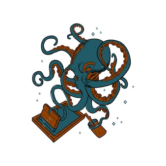 Screen printing rackets vector and octopus illustration