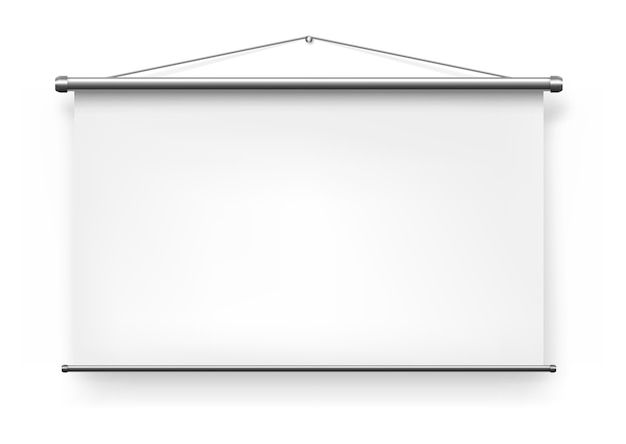 スクリーンプロジェクター、白い空白のプレゼンテーションスライドボード、ホワイトボードは、現実的な孤立したモックアップを表示します。ポータブル折りたたみ式スクリーンプロジェクター背景、オフィスプレゼンテーション投影ビデオ壁