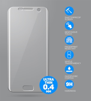 Screen protect glass.  screen protector film or glass cover isolated on grey background. mobile accessory.