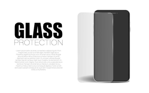 Защитное стекло экрана, векторная защита дисплея гаджета, защитная крышка устройства фоновой иллюстрации