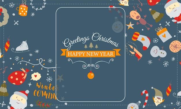 낙서 스타일의 크리스마스 카드 벡터에 크리스마스 디자인 요소가 있는 화면 보호기