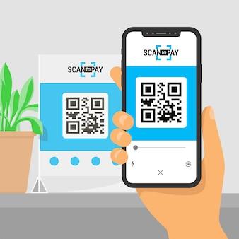 Экран смартфона с приложением в руке. сканирование qr-кода на столе и онлайн-оплата, денежный перевод.