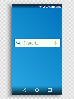 Screen of smartphone with search bar, search engine