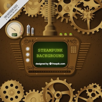 Screen in steampunk design