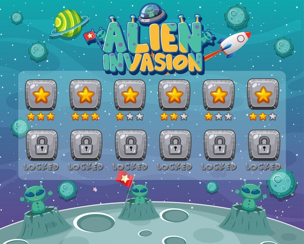 Screen template for computer game with alien invasion