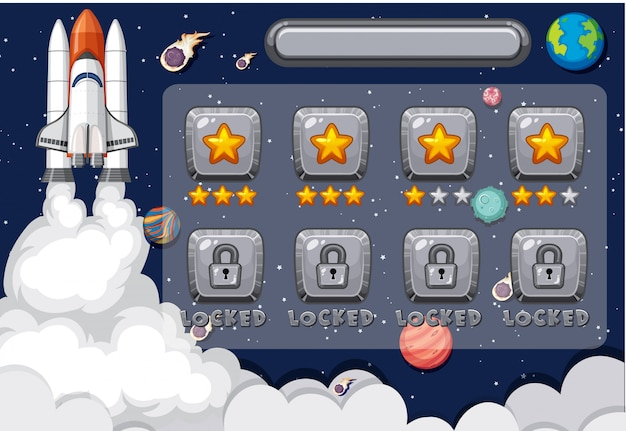 Screen template for computer game with spaceship in space