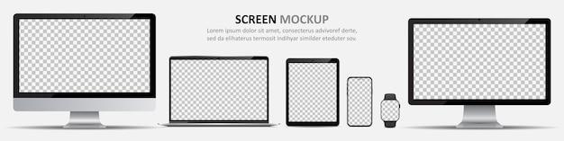 화면 템플릿. 컴퓨터 모니터, 노트북, 태블릿, 스마트 폰 및 빈 화면이있는 스마트 워치