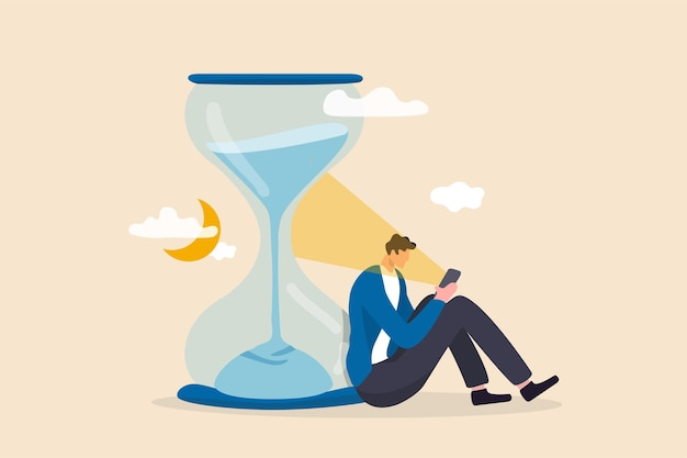 スマートフォンのコンセプトを使用した画面時間、運命のスクロール、または無駄な時間。