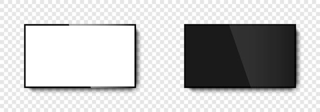 스크린 tv. 흰색과 검은 색 화면이있는 tv. 현실적인 tv 화면. 삽화