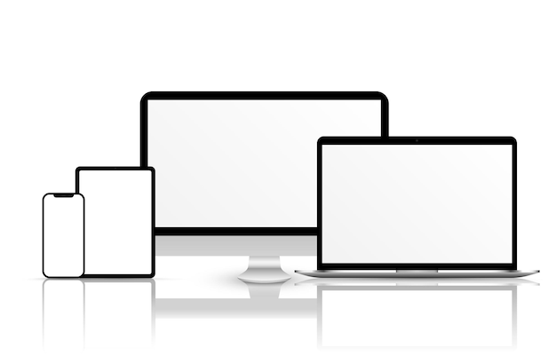 Screen vector mockup mockup of phone laptop smartphone monitor with blank screen png