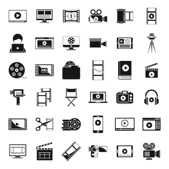 Screen video editing icons set simple vector. online player. video editing play Premium Vector