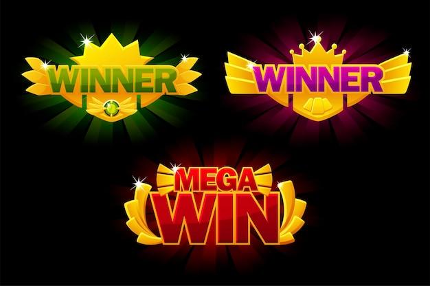 Победитель экрана, золотая награда mega win, светящиеся баннеры для пользовательского интерфейса игры. векторная иллюстрация установила значок победителя с короной, открытку победы для графического дизайна.
