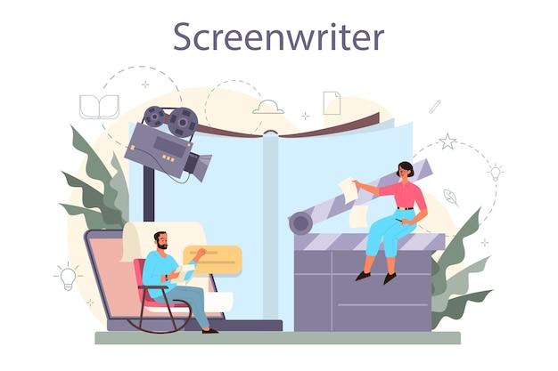 脚本家のコンセプト。人は映画の脚本を作成します。シネマトグラフィーの新しいシナリオを書いている著者。ハリウッド産業。