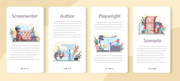Screenwriter mobile application banner set. person create a screenplay for movie. author writing new scenario for cinematography. hollywood industry. isolated vector illustration