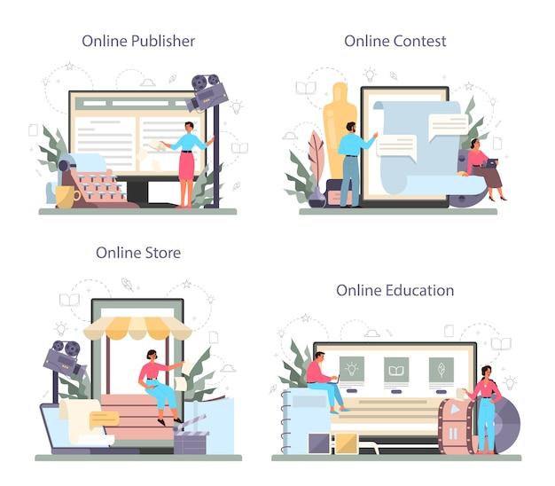 시나리오 작가 온라인 서비스 또는 플랫폼 세트. 사람은 영화의 시나리오를 만듭니다. 온라인 게시자 및 콘테스트, 온라인 상점 및 교육. 격리 된 벡터 일러스트 레이 션