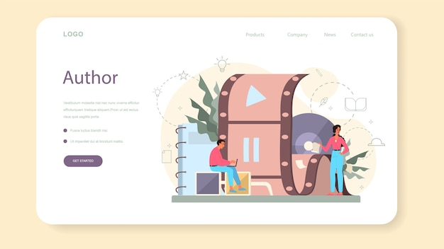 Screenwriter web landing page. person create a screenplay for movie. author writing new scenario for cinematography. hollywood industry. isolated vector illustration