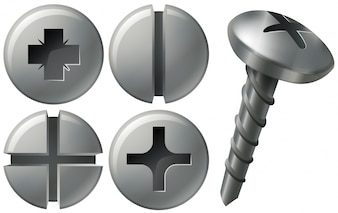 Screw and nailheads in different designs
