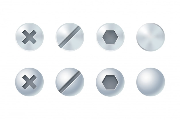 Screw and bolt heads set, different types and shapes. isolated design elements.