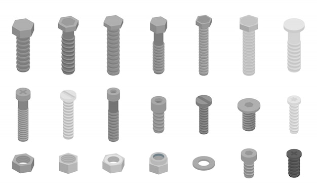 Screw-bolt icons set, isometric style