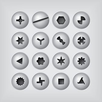 Screw heads set on gray background
