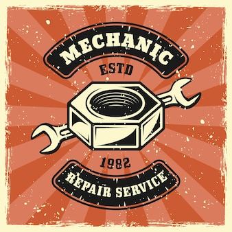 Screw nut and wrench mechanic emblem, badge, label, logo or t-shirt print in vintage colored style. vector illustration with grunge textures on separate layers