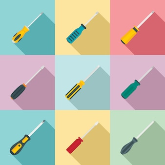 Screwdriver icons set, flat style