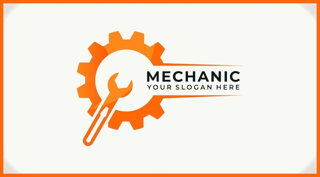 Screwdriver on wrench and gear logo design