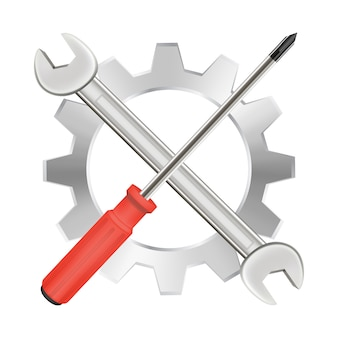 Screwdriver wrench and gear repair logo
