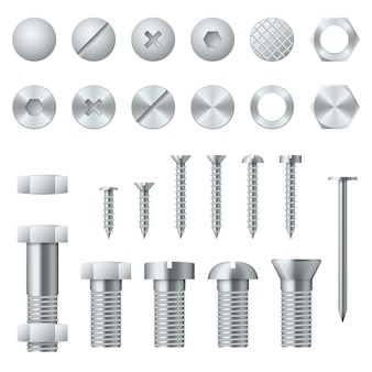 Screws, bolts, nuts, nails and rivets realistic