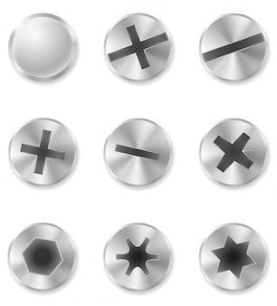 Screws bolts and rivet vector illustration
