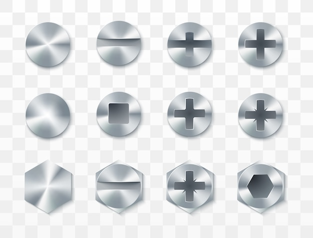 Screws, rivets and bolts set.  isolated on transparent background