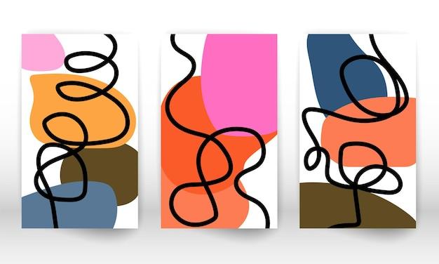 Дизайн каракулей. современная абстрактная живопись. набор геометрических фигур. абстрактные рисованной элементы дизайна эффект акварели. печать современного искусства. современный дизайн с формами каракули.