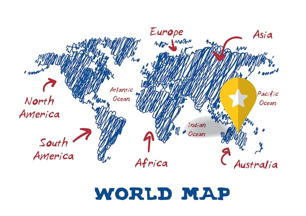 Scribble drawing world map vector