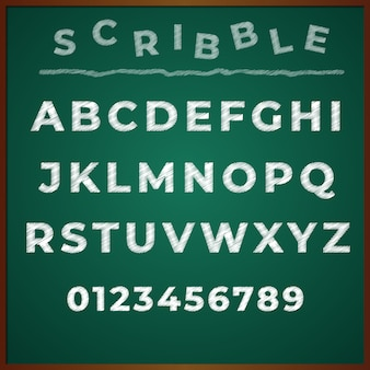 Scribble font alphabet hand drawing vector