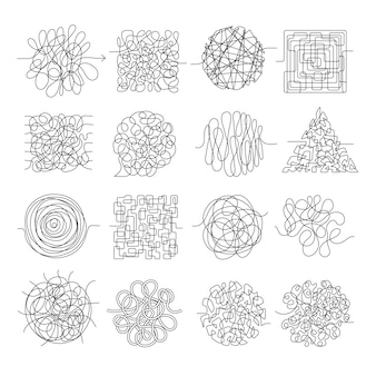 Scribble lines. wire mess chaos threading vector shapes isolated