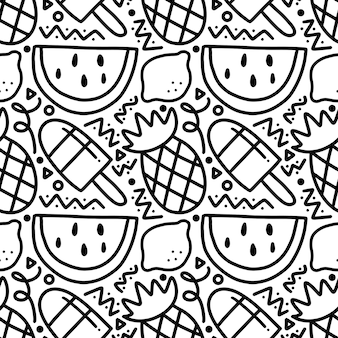 Scribble pattern of hand drawn fruit holiday with icons and design elements
