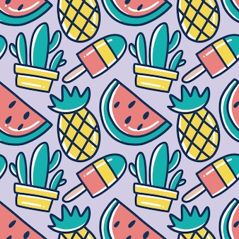Scribble pattern of hand drawn hawaii fruit holiday with icons and design elements