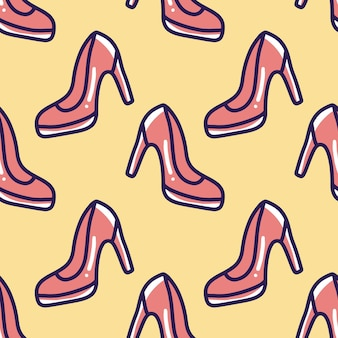 Scribble pattern of high heel shoes hand drawing