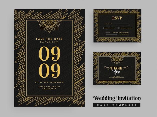 落書きパターン結婚式招待状のデザインテンプレート