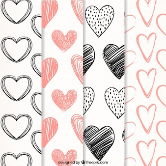 Scribble patterns of hearts