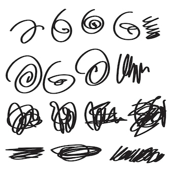Scribble set isolated in white