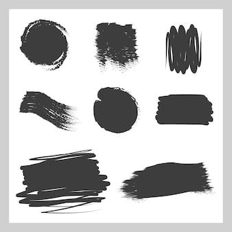落書きの汚れ、収集ストローク、ブラシ、黒インクのペイント