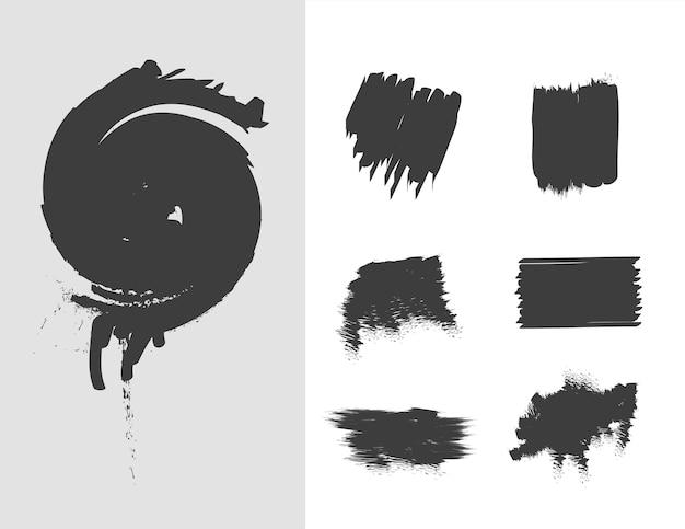 Пятна каракулей рисованной чернила мазки кистью