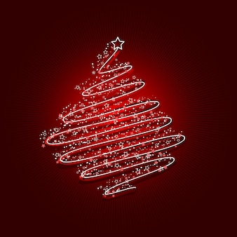 Scribbled christmas tree background