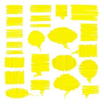 Scribbled realistic highlighter pen speech bubbles